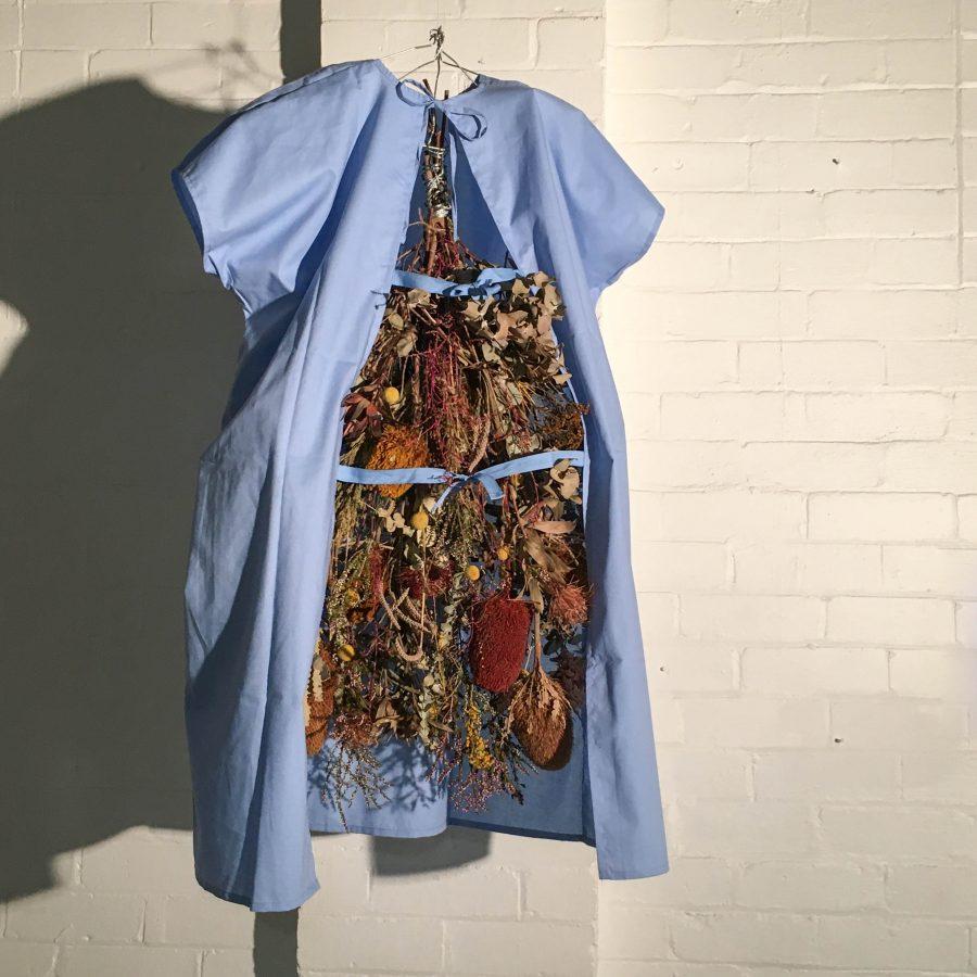 Dried Australian native flora hanging inside a blue hospital gown